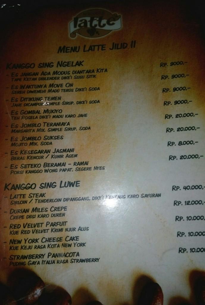 Daftar menu yang unik